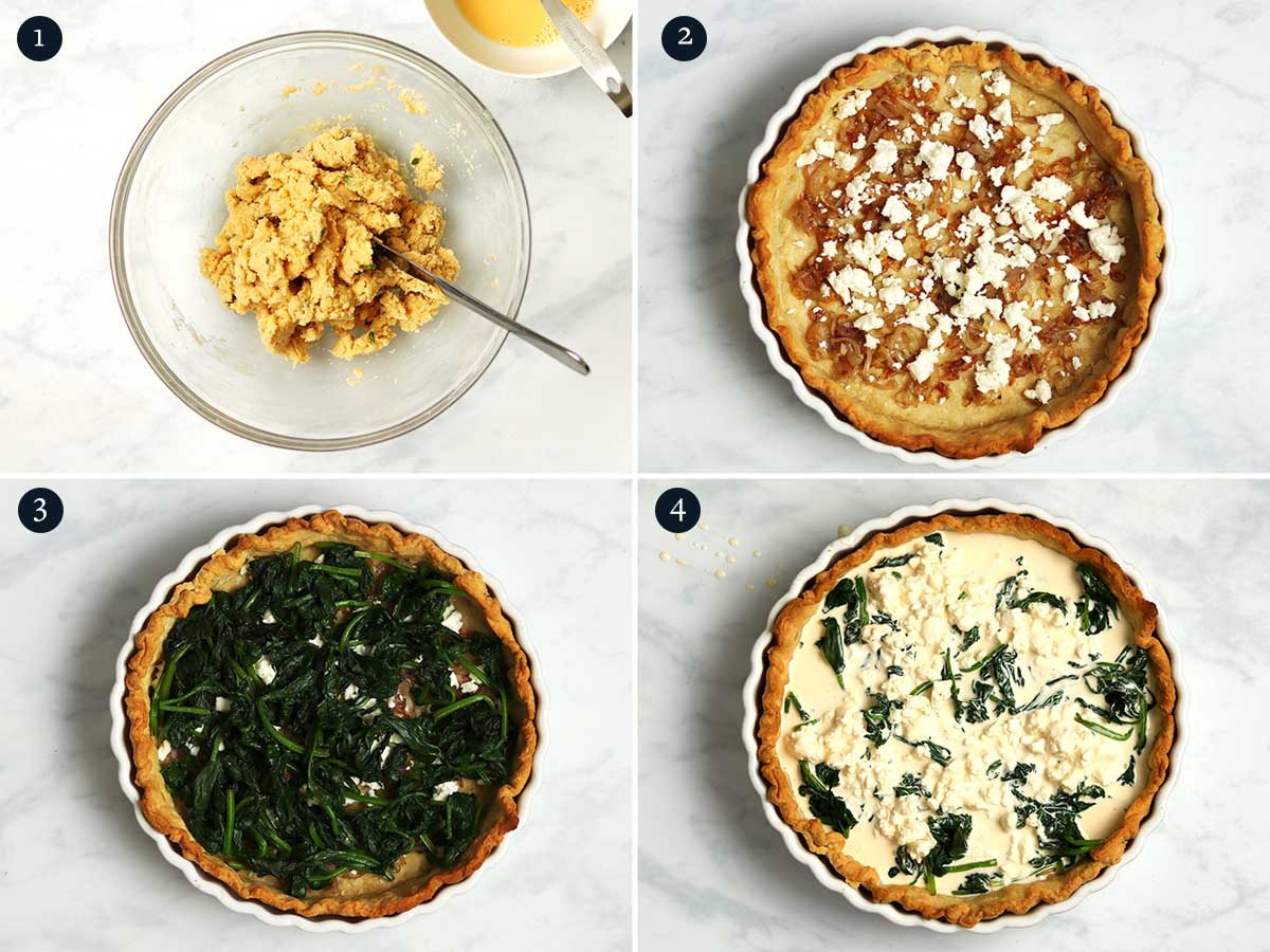 Step by step process for making Spinach and Feta Quiche