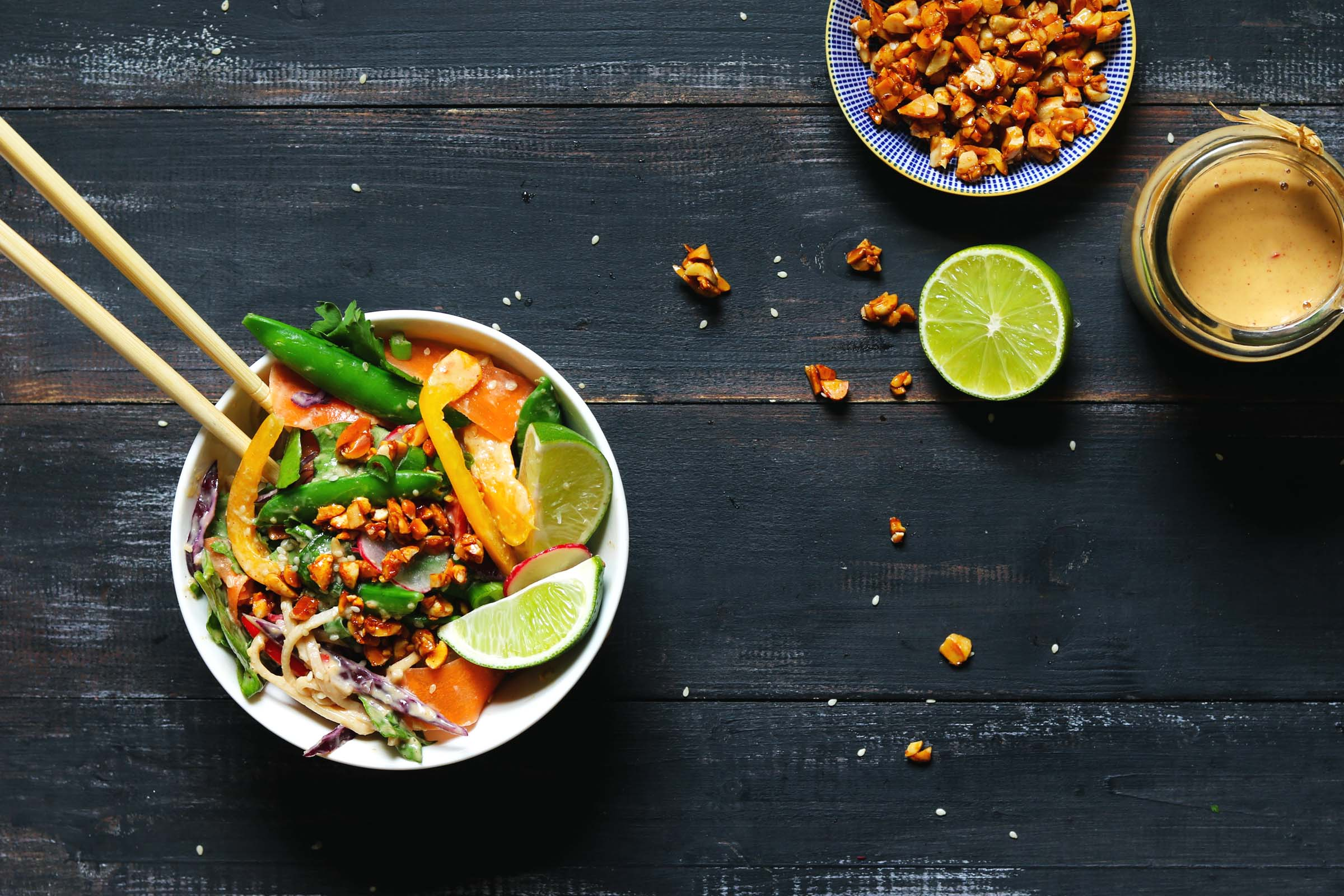 Veggie Noodle Salad with Peanut Dressing