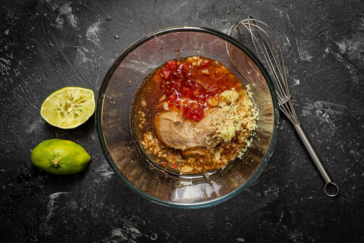 Peanut dressing ingredients in bowl