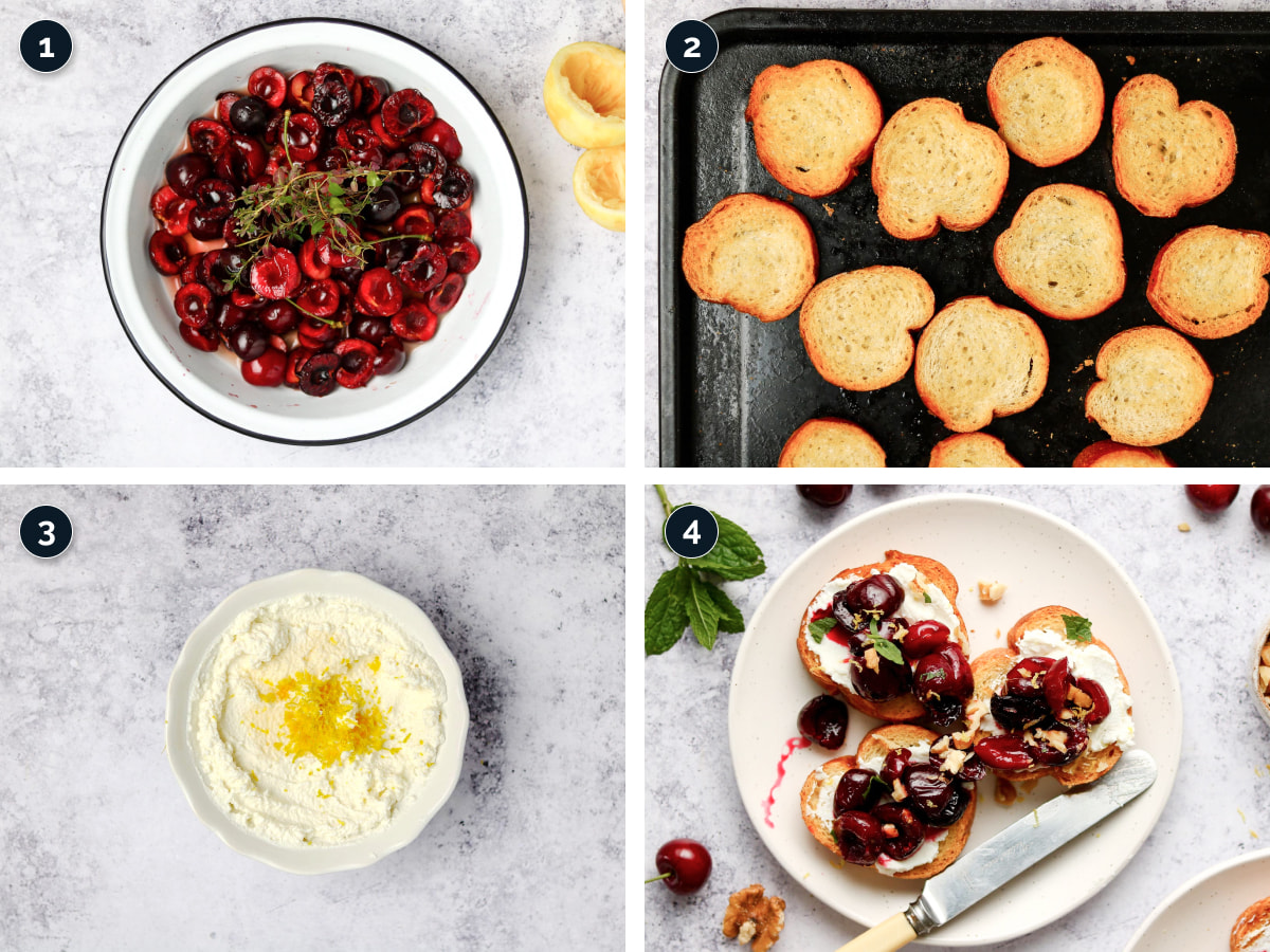 Step by step process for making Ricotta Crostini