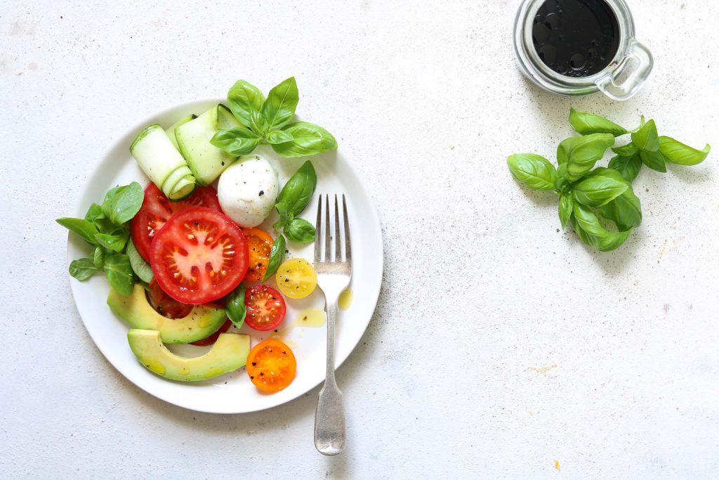 Caprese Salad with Avocado & Courgette