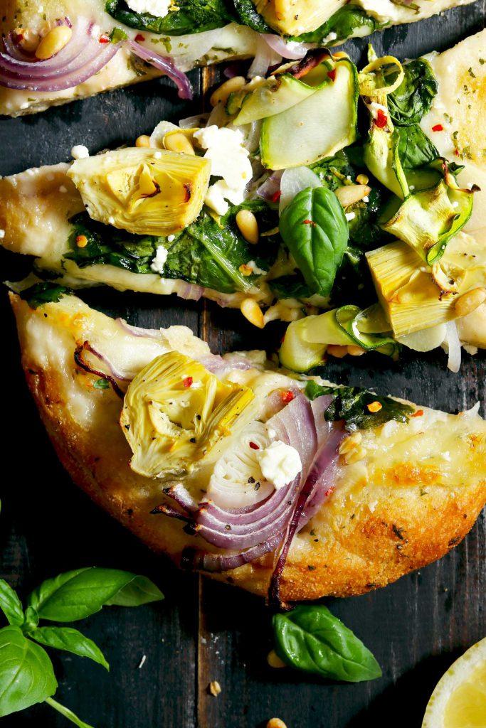 Artichoke & Spinach Flatbread Pizza - thelastfoodblog.com
