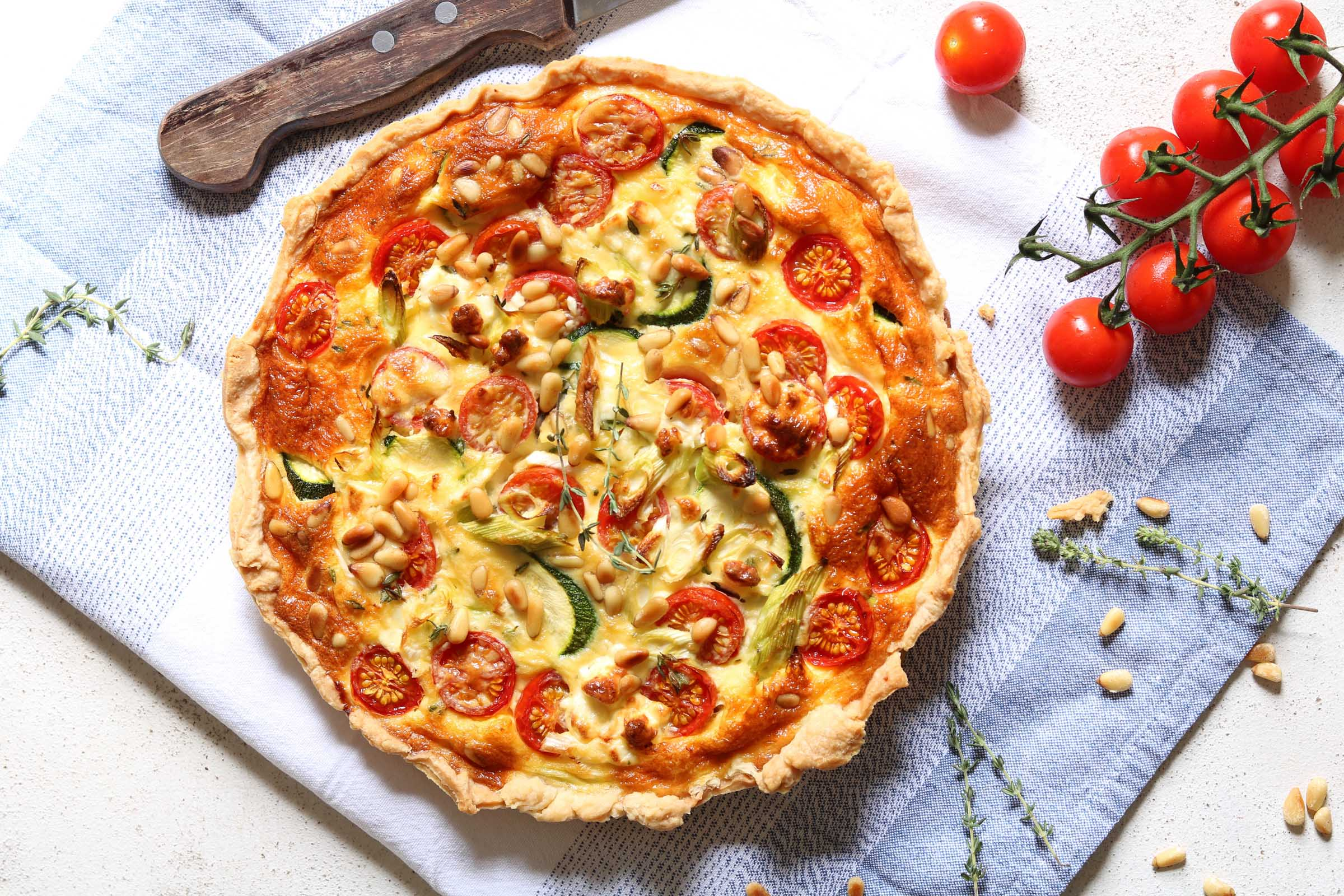 Courgette Quiche with Cherry Tomatoes & Feta
