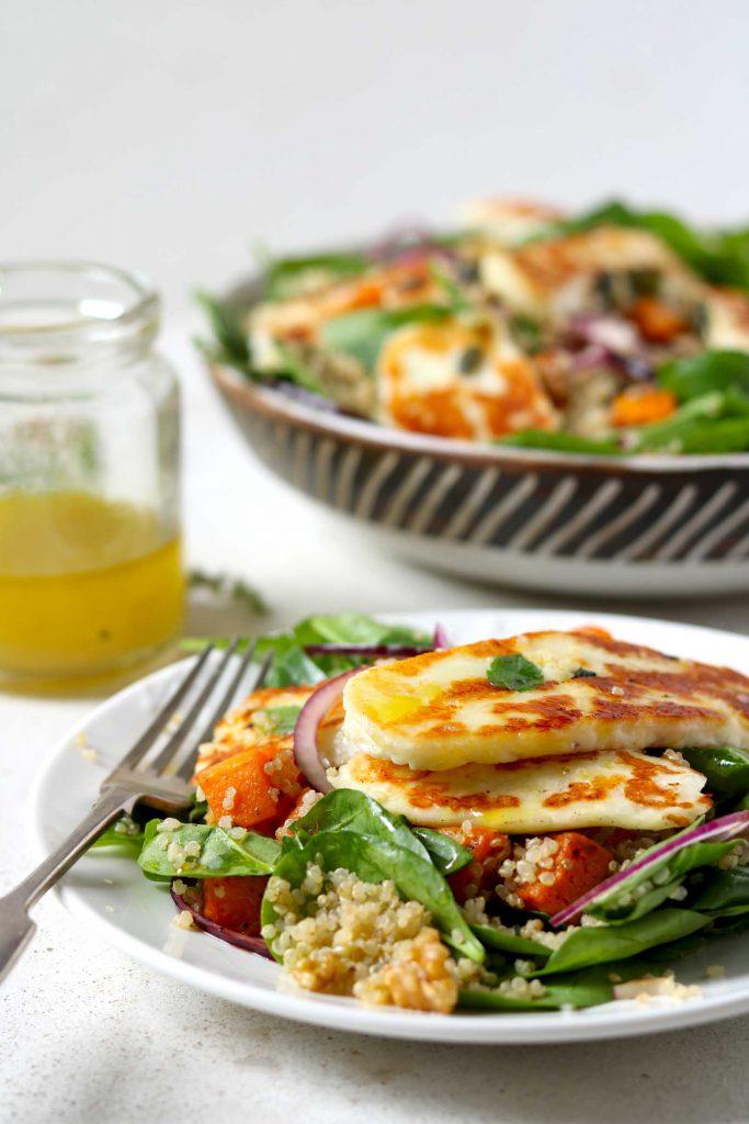 Halloumi Salad with Butternut Squash & Quinoa - thelastfoodblog.com