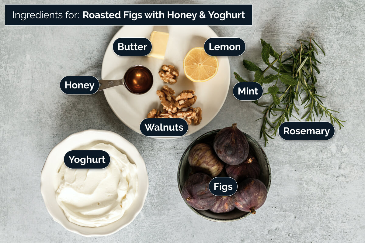 Ingredients to make roasted figs