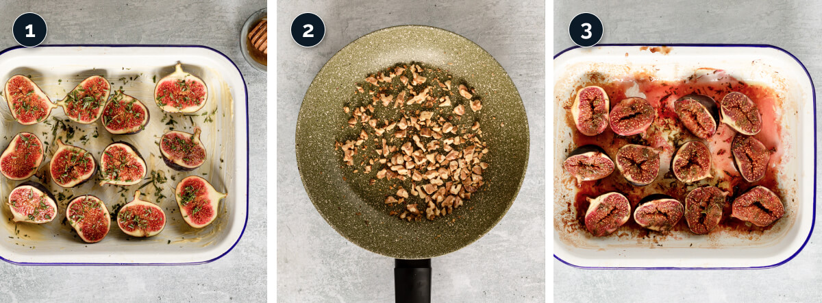 Step by step process for Roasting Figs and walnuts