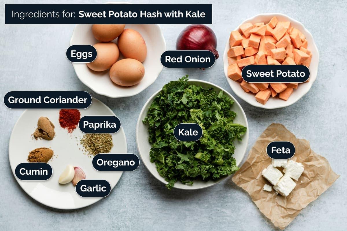 Ingredients for making Sweet potato hash