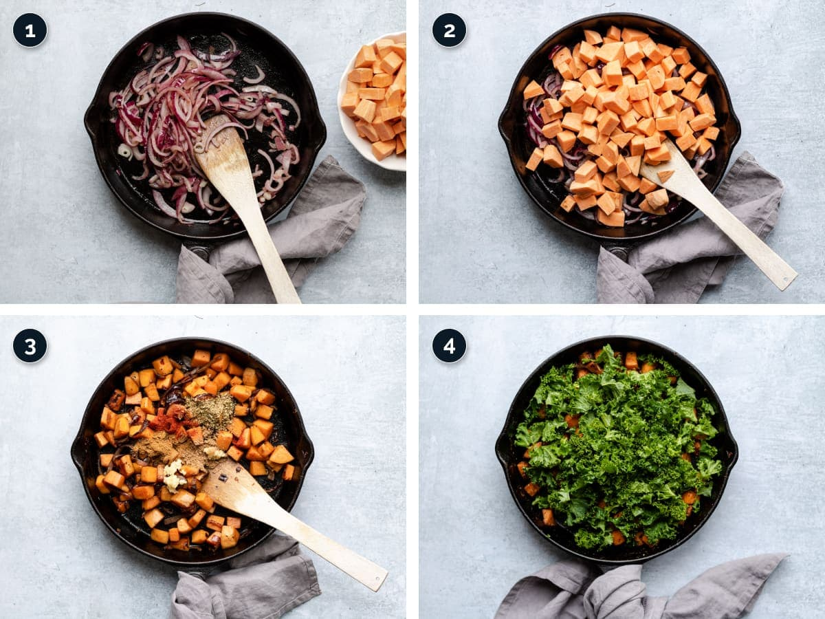Step by step process for making sweet potato hash