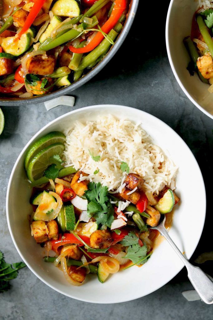 Thai Red Curry with Veggies & Crispy Tofu - thelastfoodblog.com