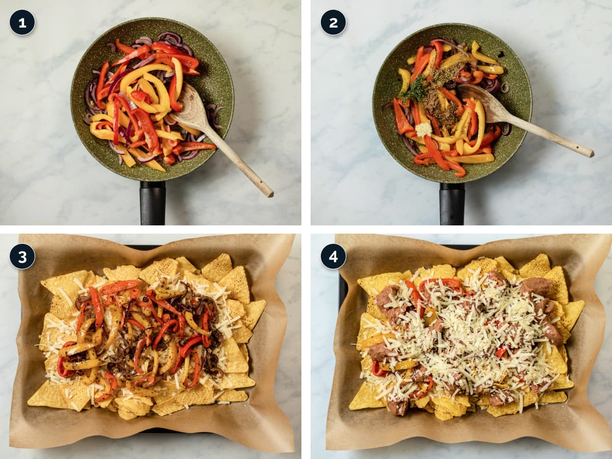 steps by step process for making veggie nachos