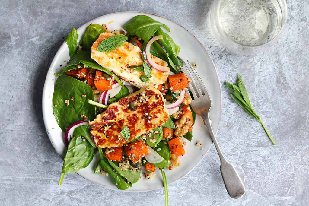 halloumi with roasted butternut squash, quinoa, mint, baby spinach,lemon honey dressing, walnuts and pumpkin seeds.