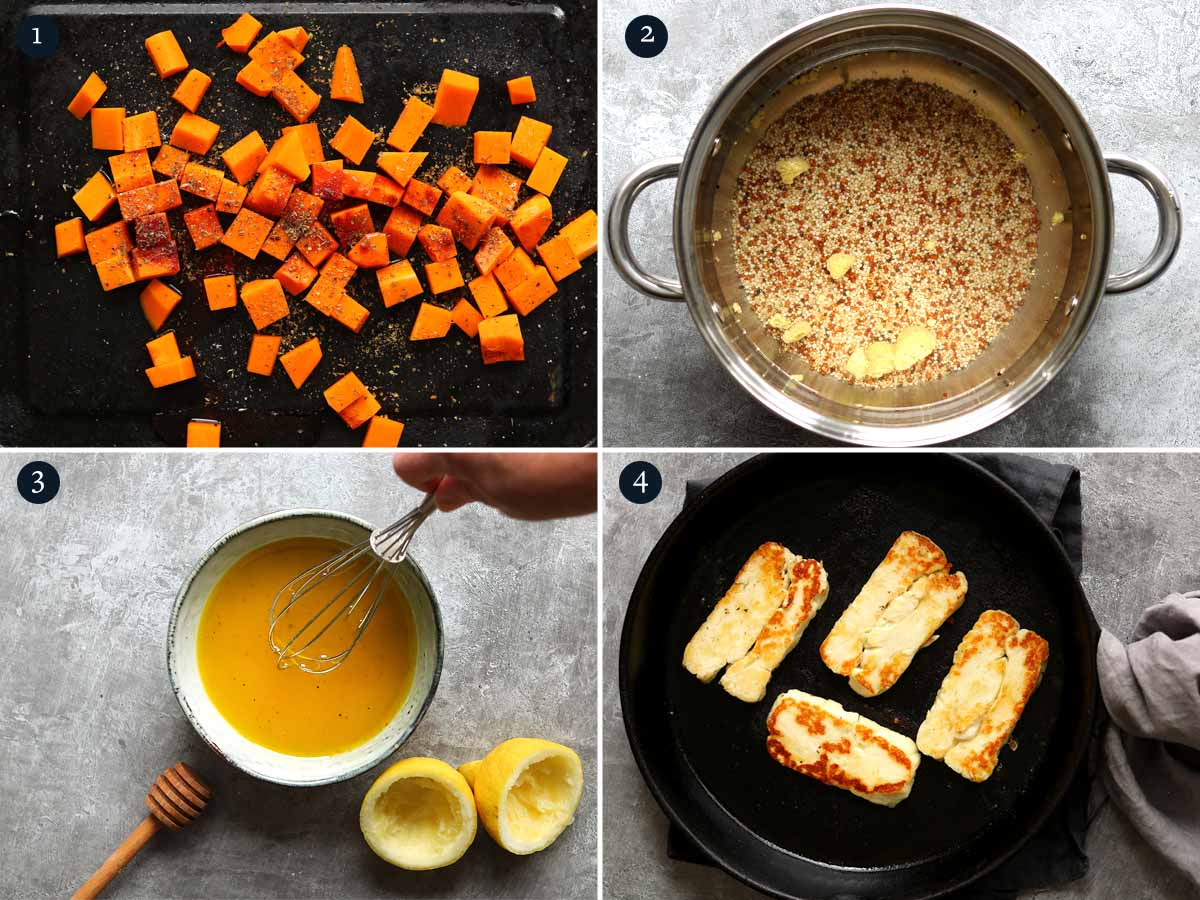 step by step process to making Halloumi Salad.