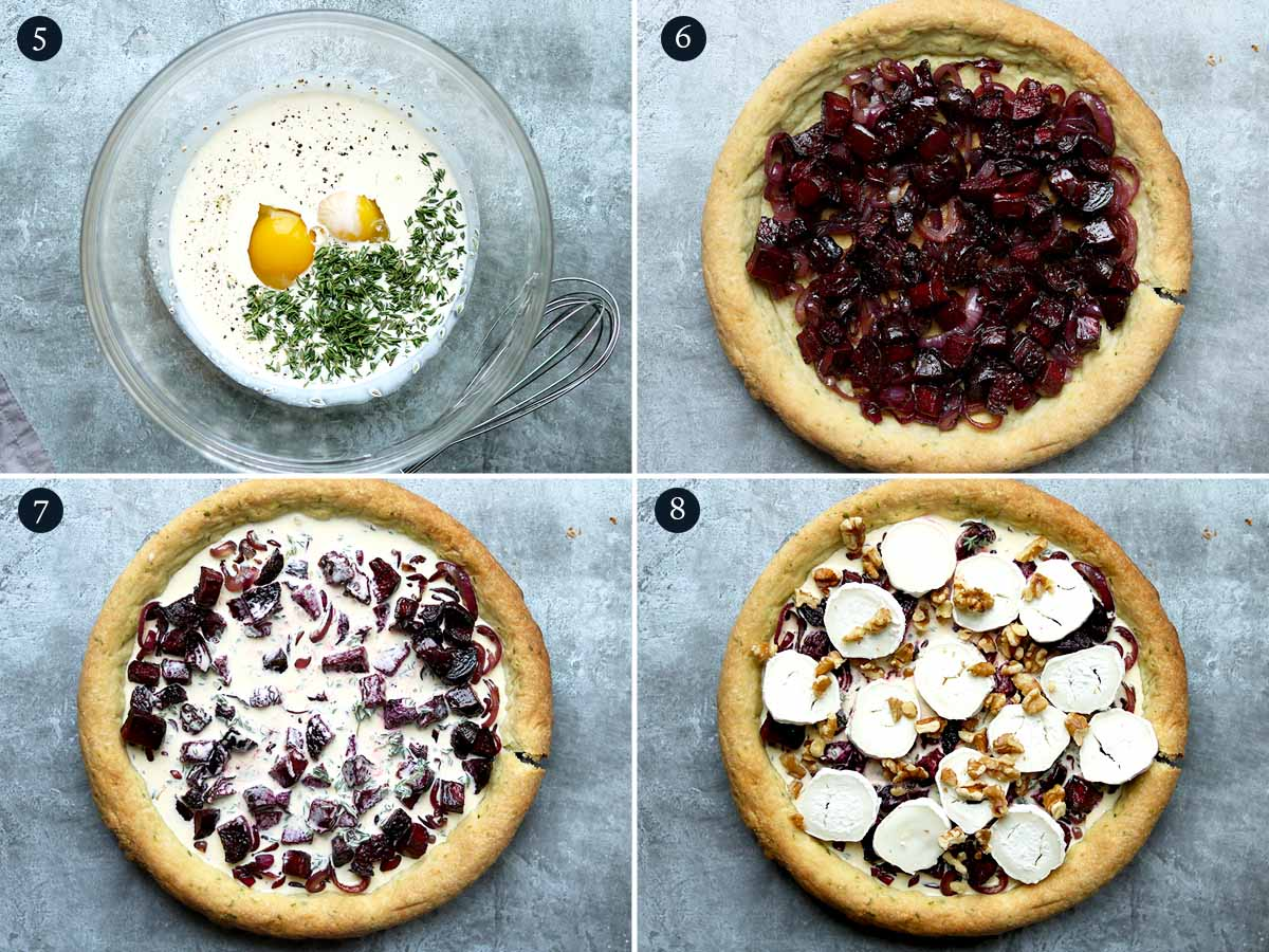 Step by step process for making goats cheese tart with beetroot