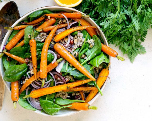 Roasted Carrots with Buckwheat & Spinach