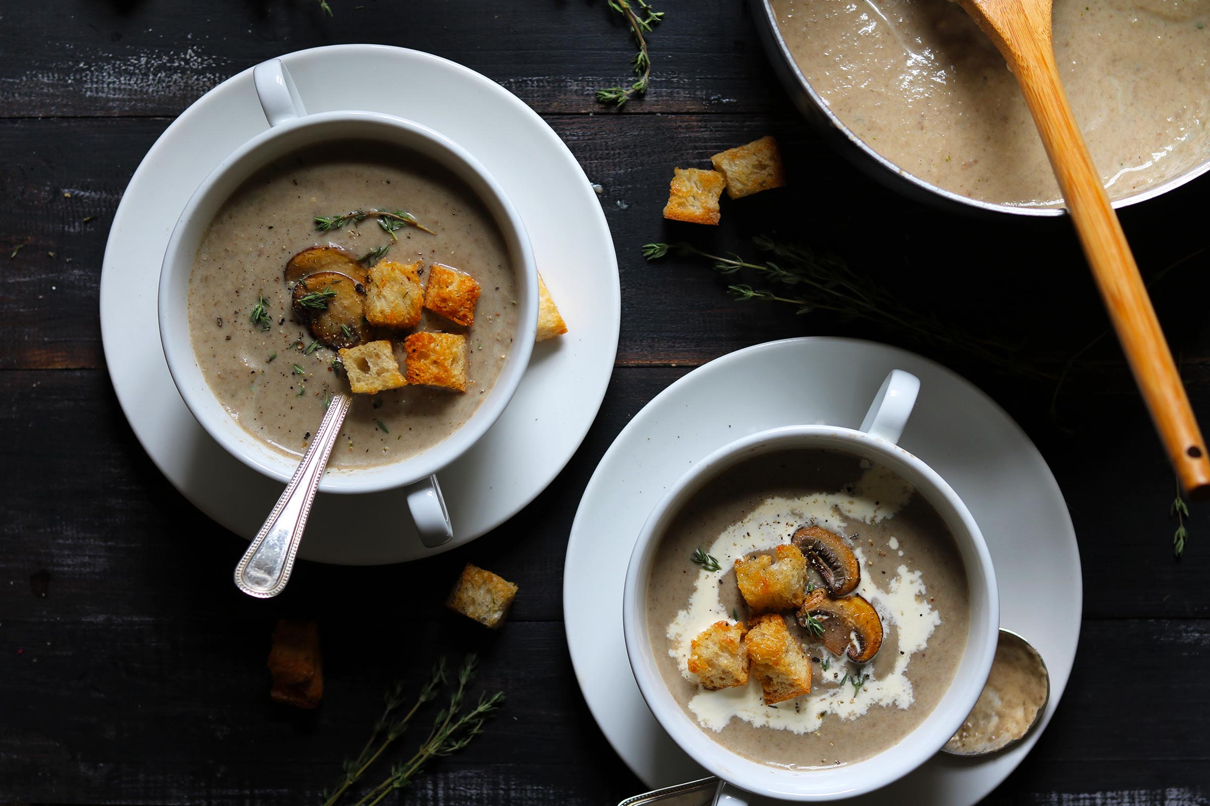 Creamy Mushroom Soup with Croutons - The Last Food Blog