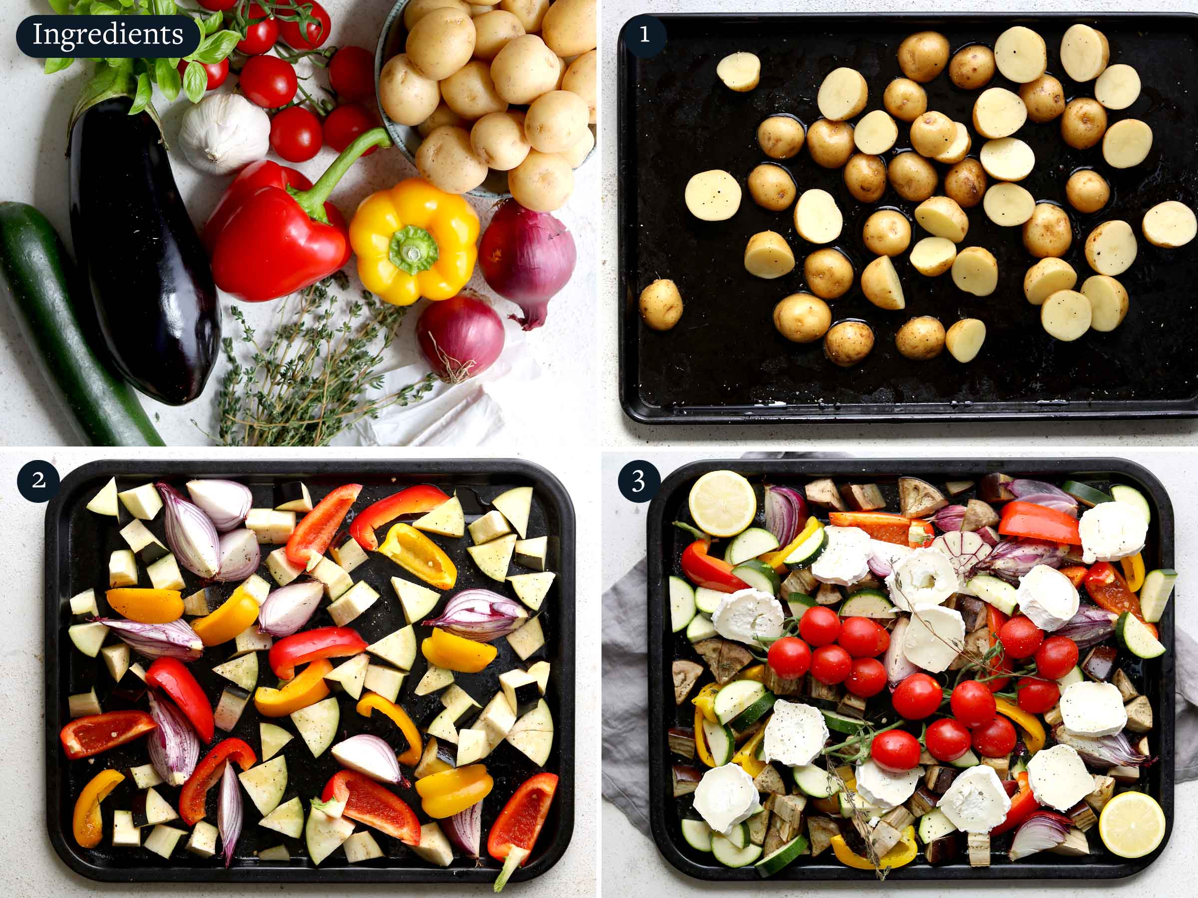 Step by step guide to making roasted mediterranean vegetables, showing ingredients and baking vegetables