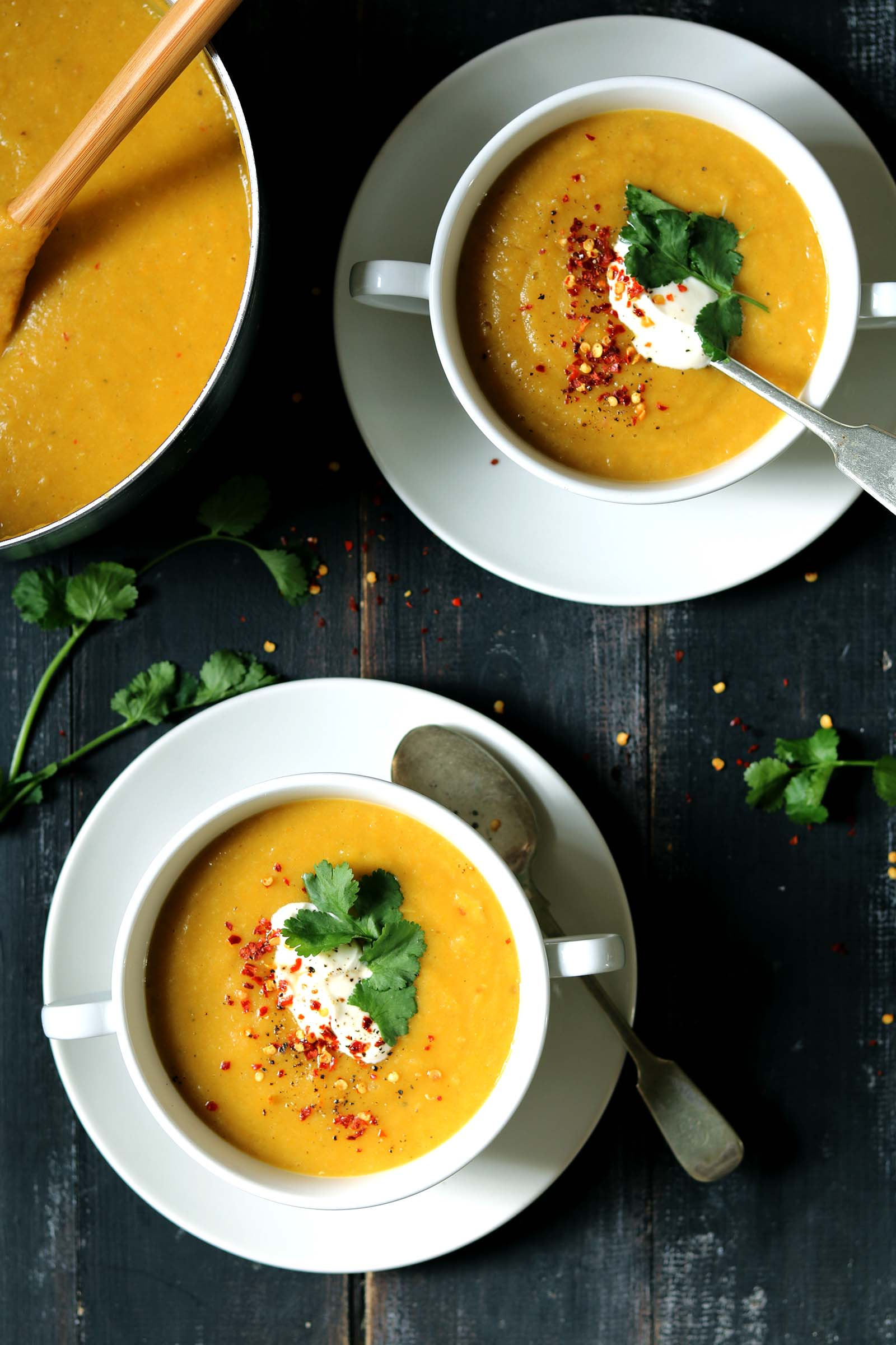 Spicy Vegetable Soup with Red Lentils