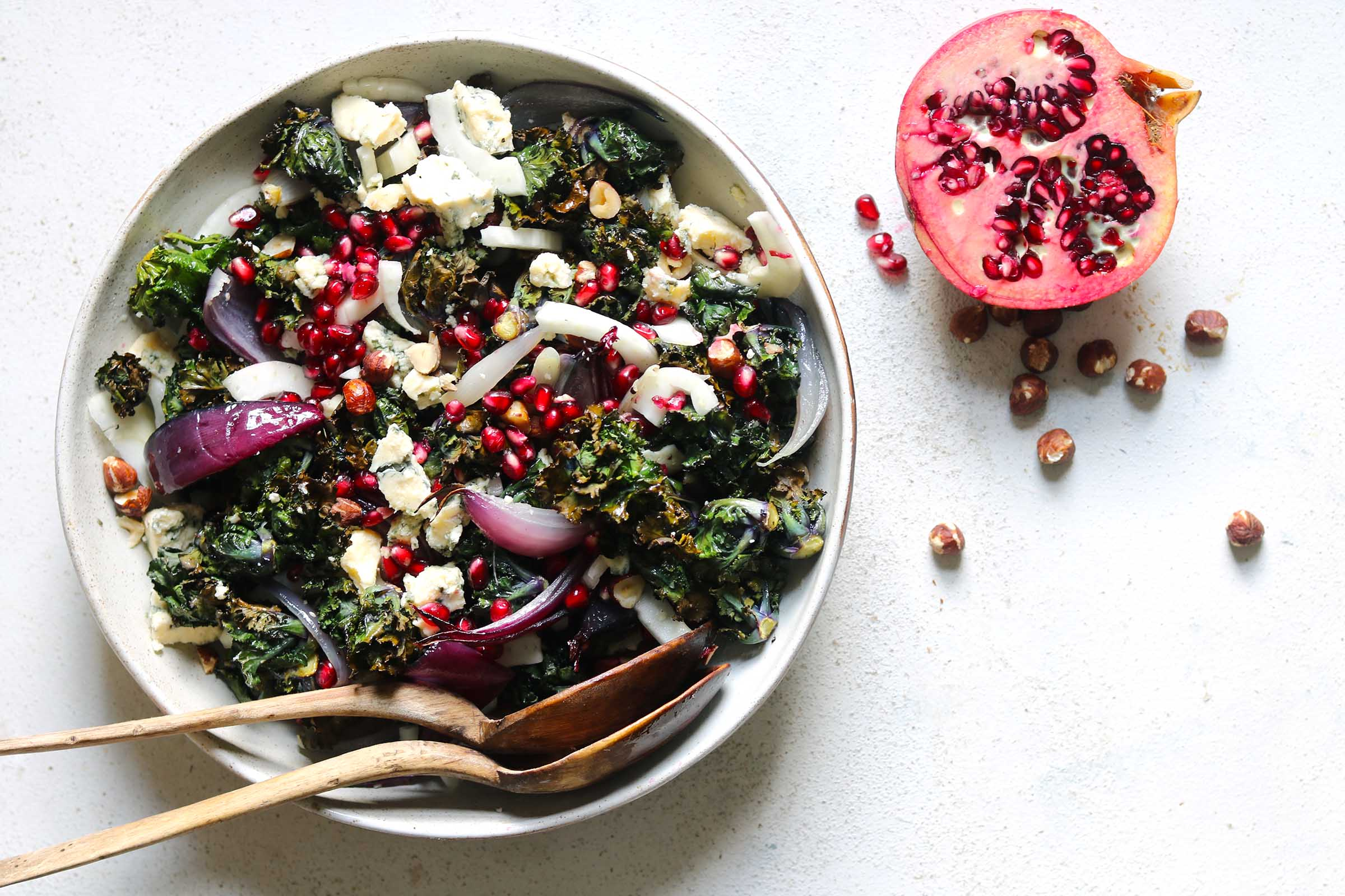 A Warm Winter Salad of Roasted Kalettes and Stilton