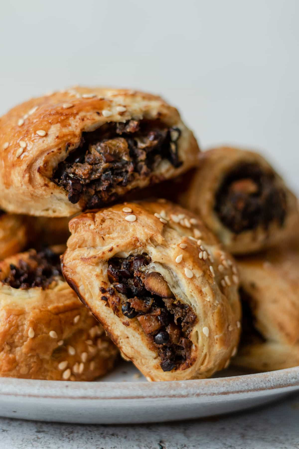 close up of veggie sausage rolls