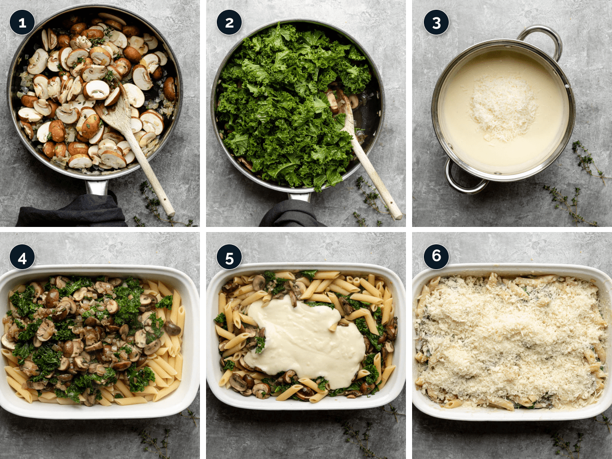 Step by step process for making Creamy Mushroom Pasta