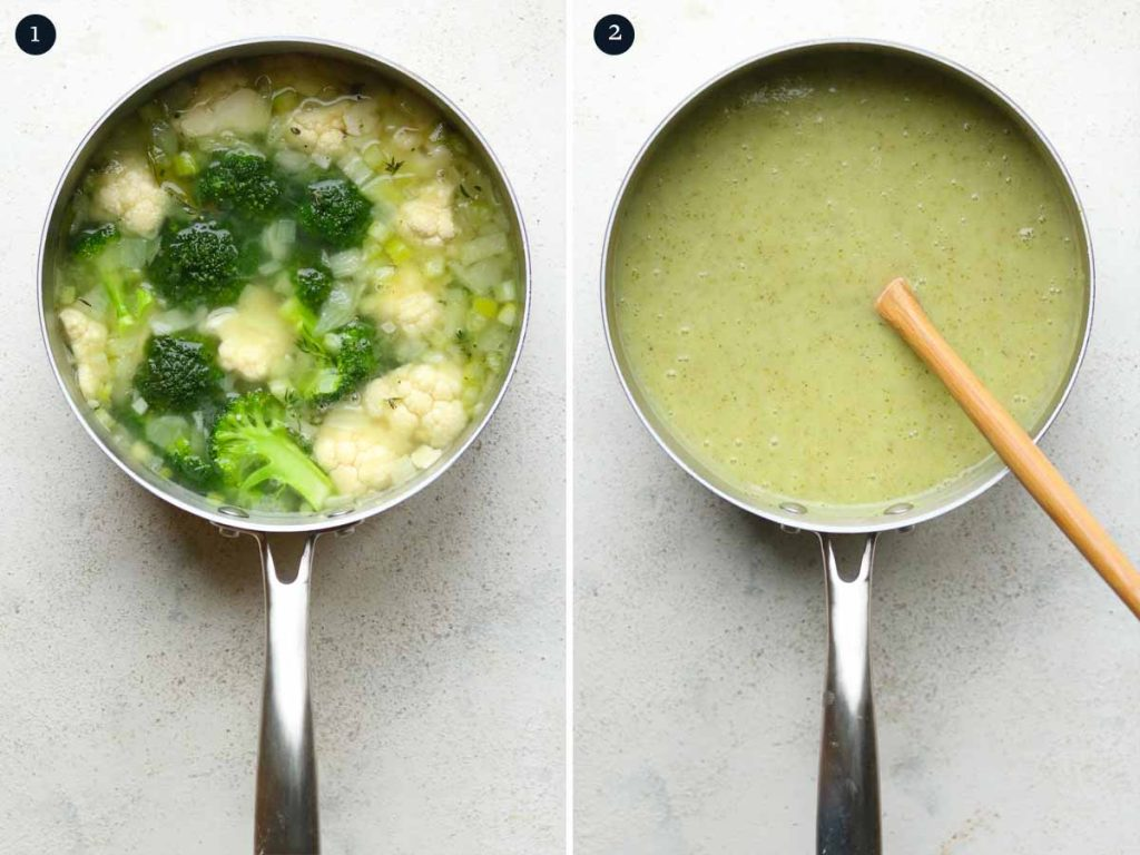 step by step process for making Creamy Broccoli Soup