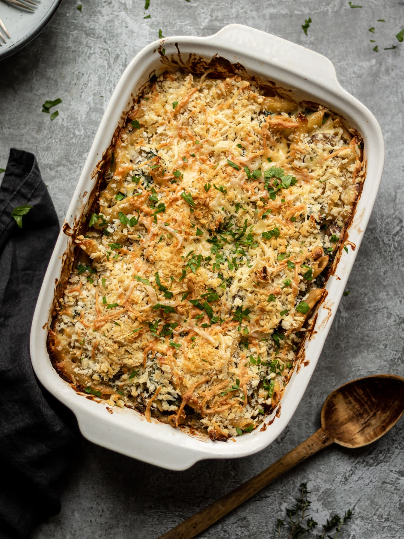 Creamy Mushroom Pasta Bake With Kale The Last Food Blog