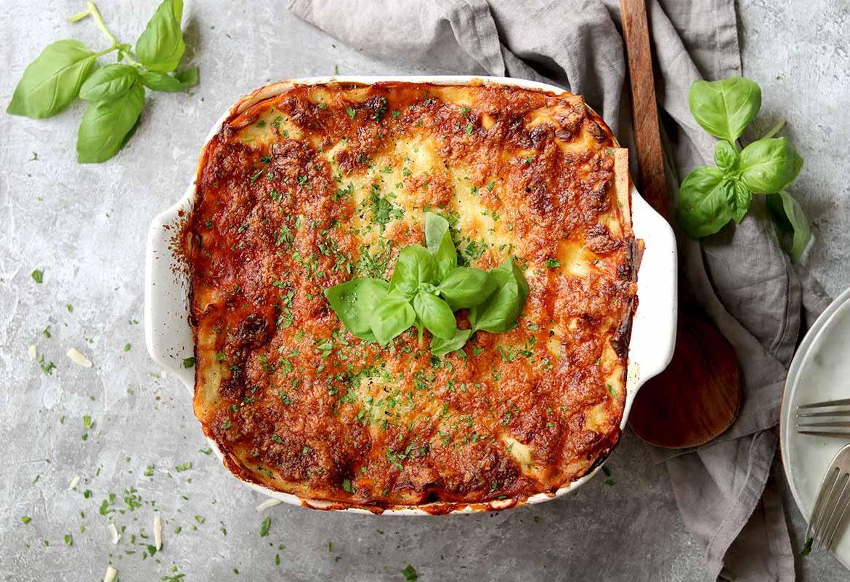 Vegetarian Lasagne with basil garnish