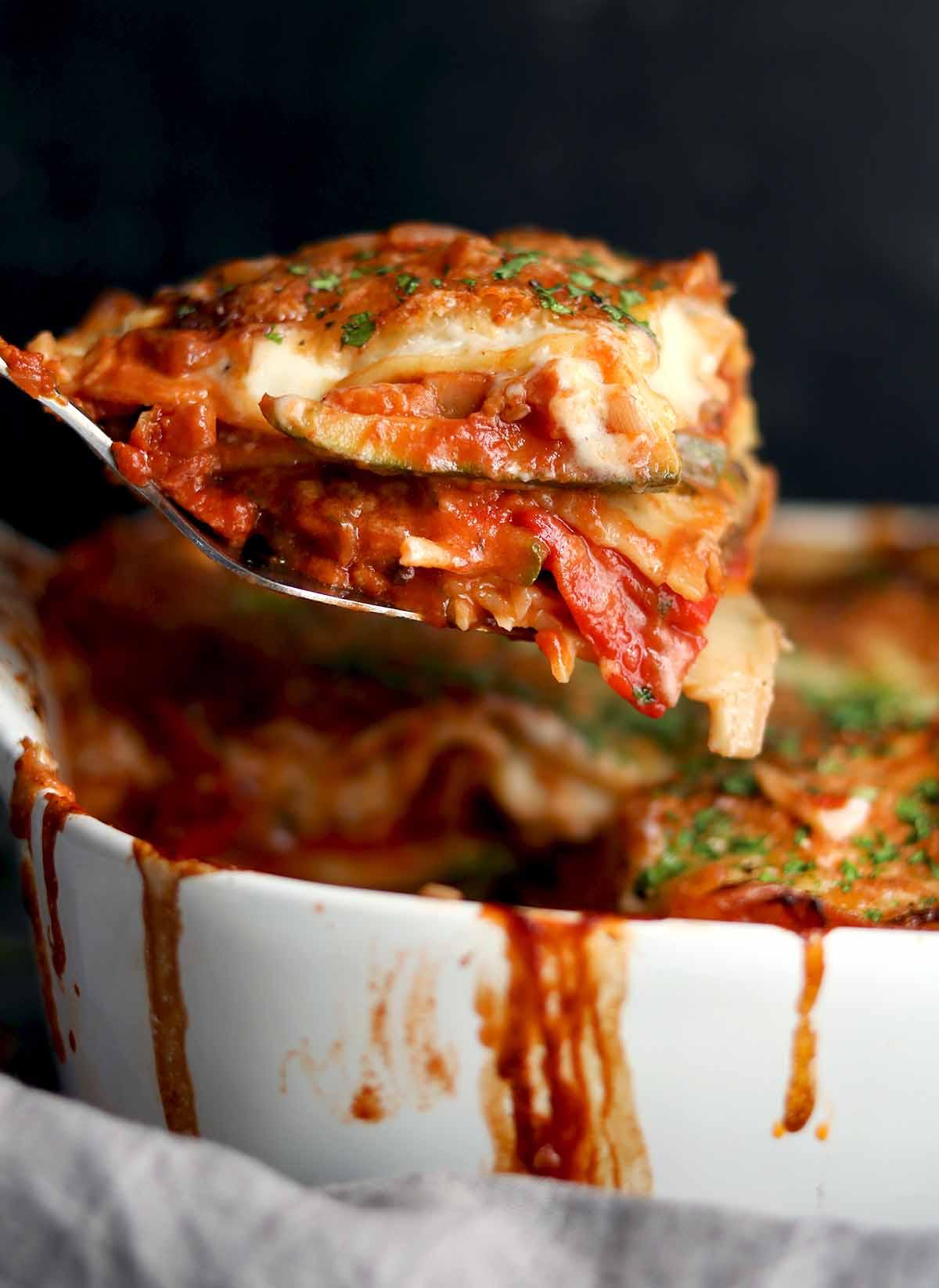 Vegetarian Lasagne with basil garnish