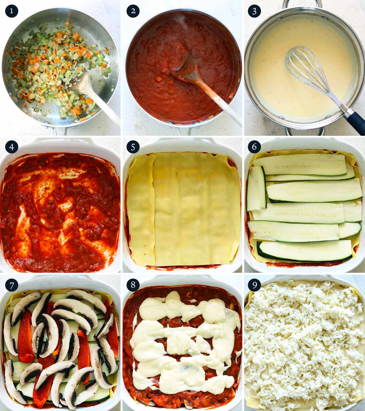 Step by step process on how to make Vegetarian Lasagne