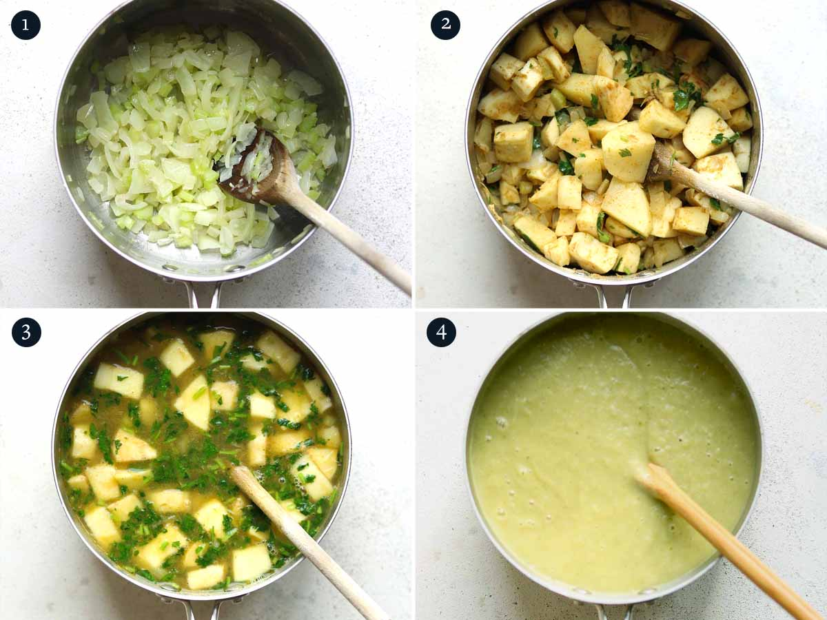 Step by step process for making Parsnip Soup