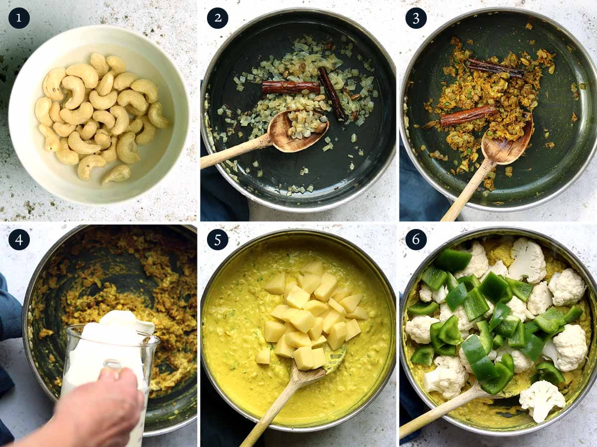 Step by step process for making Vegetable Korma