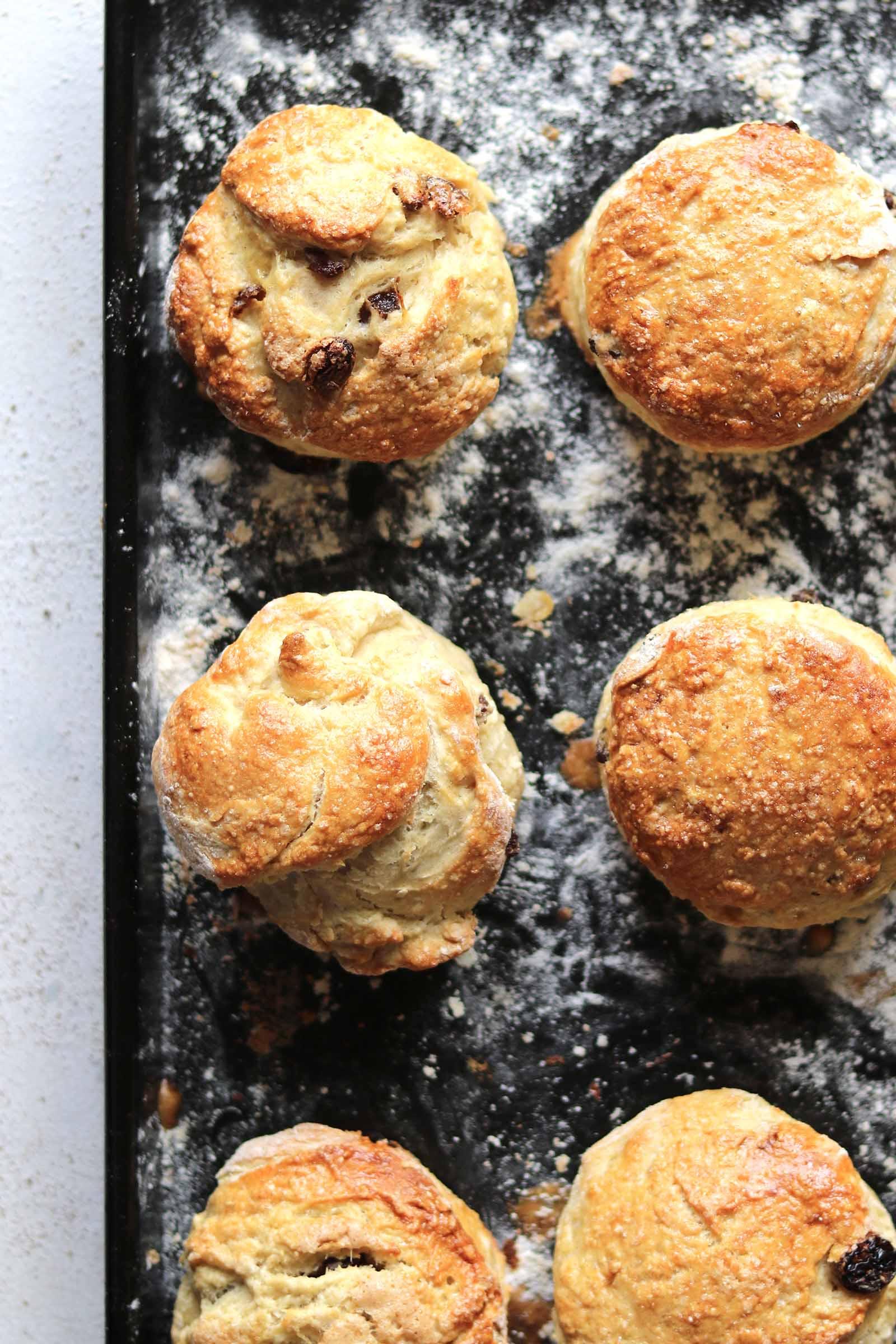 irish scones on tray baked