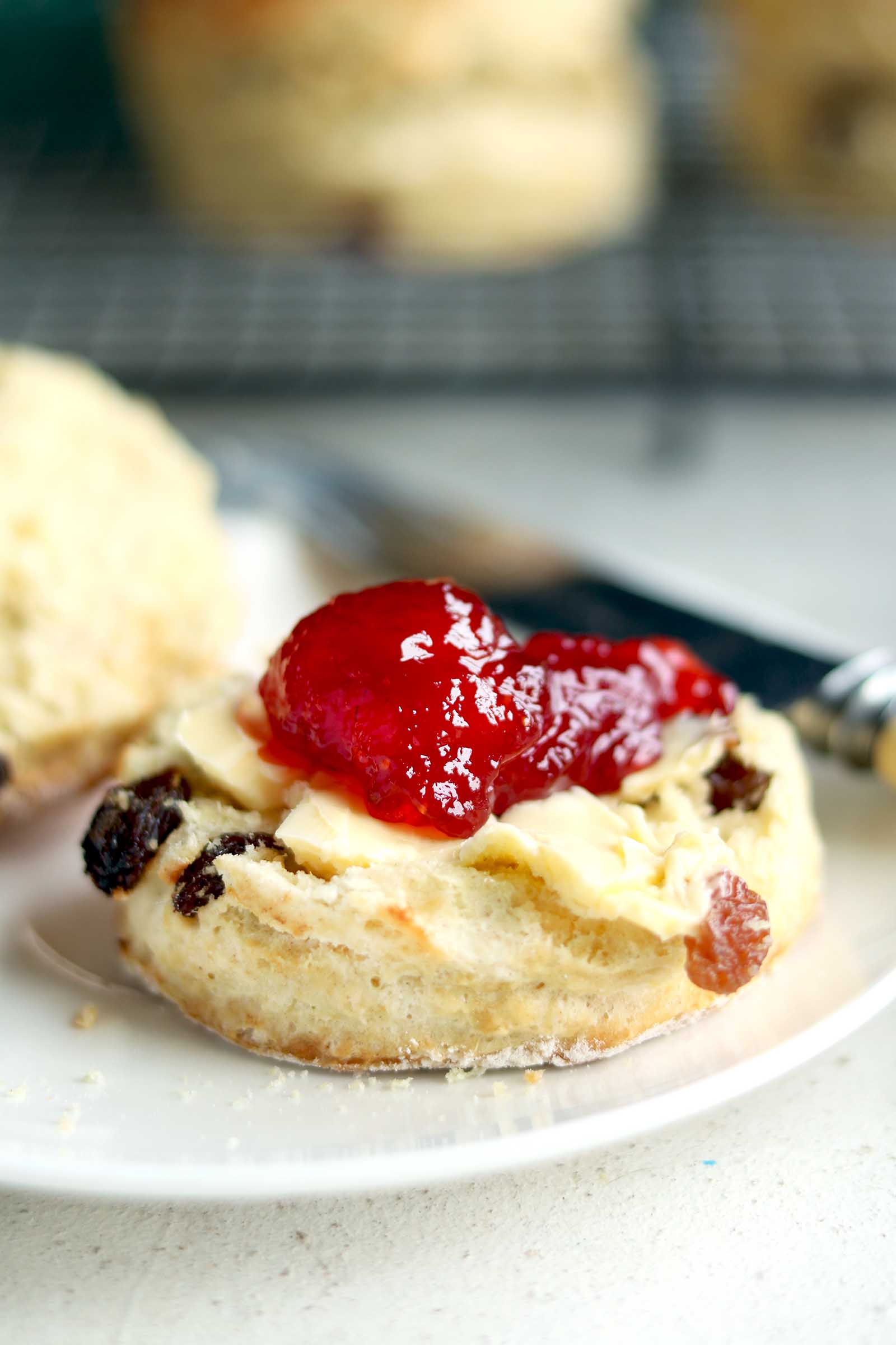 irish scone with jam close up