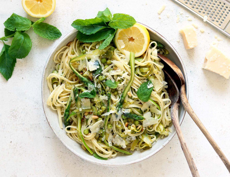 asparagus pasta on table
