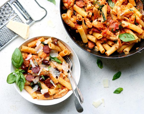 Chicken and Chorizo Pasta with Spinach