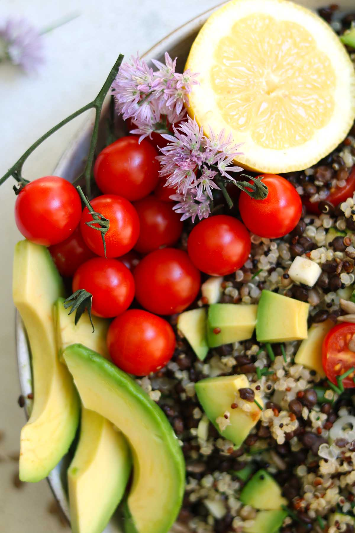 Quinoa salad in bowl close up