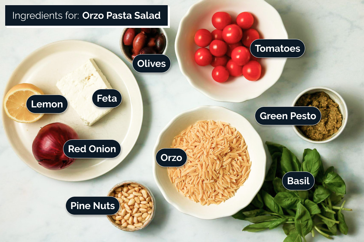 Ingredients for making Orzo Pasta Salad