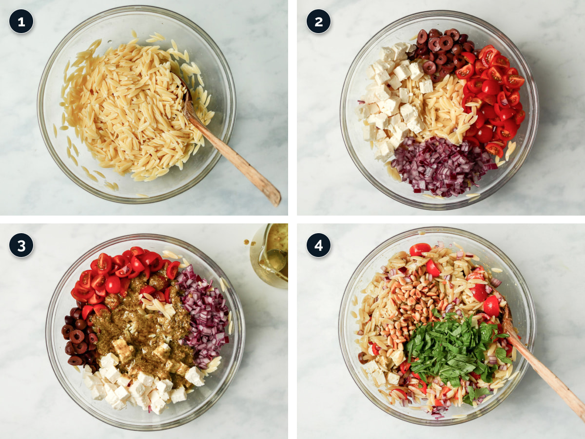 Step by step process for making Orzo Pasta Salad