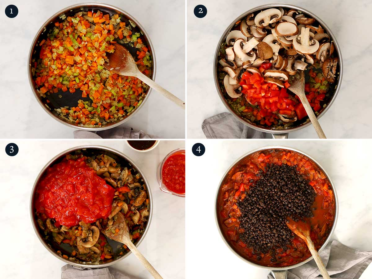 Step by step process for making Vegetarian Bolognese