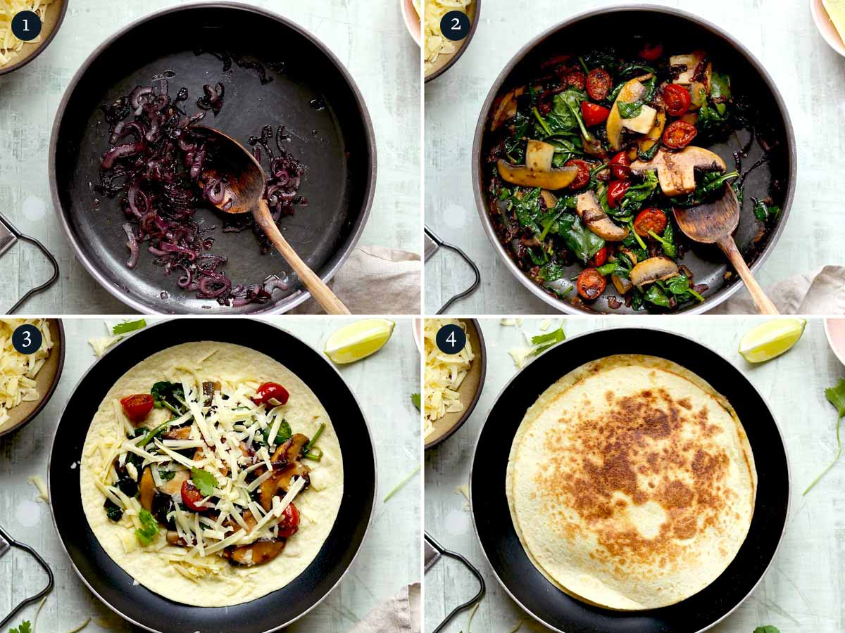 Step by step process for making Vegetarian Quesadilla