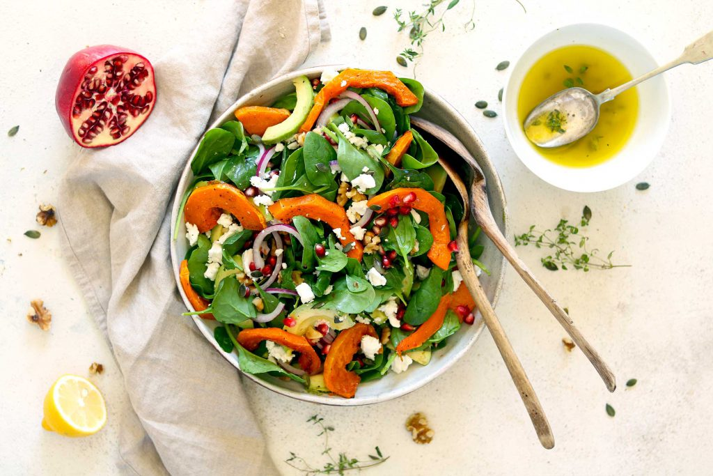 Butternut Squash Salad with Spinach & Feta
