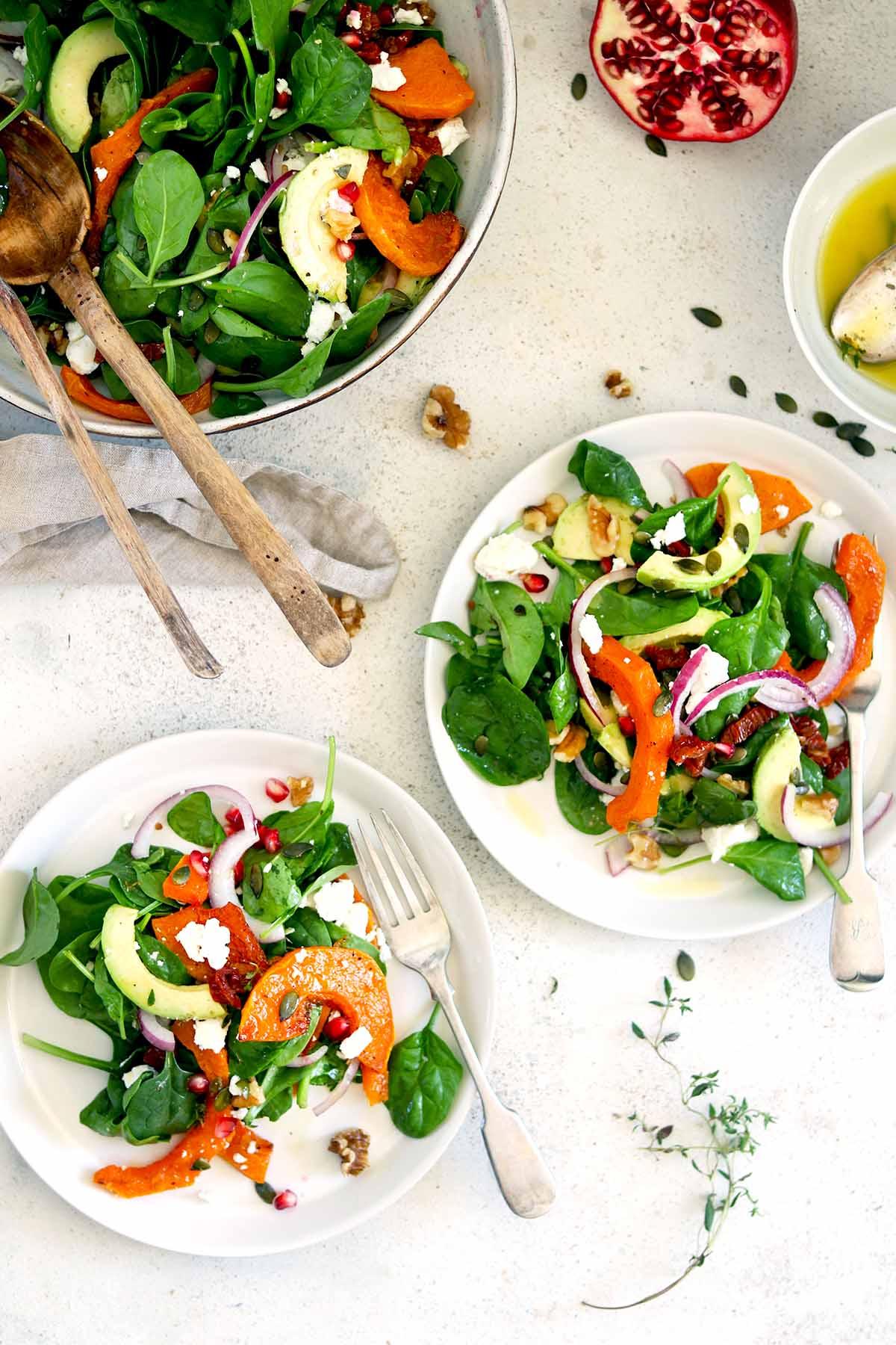 butternut squash salad overhead
