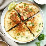 vegetarian quesadilla divided close
