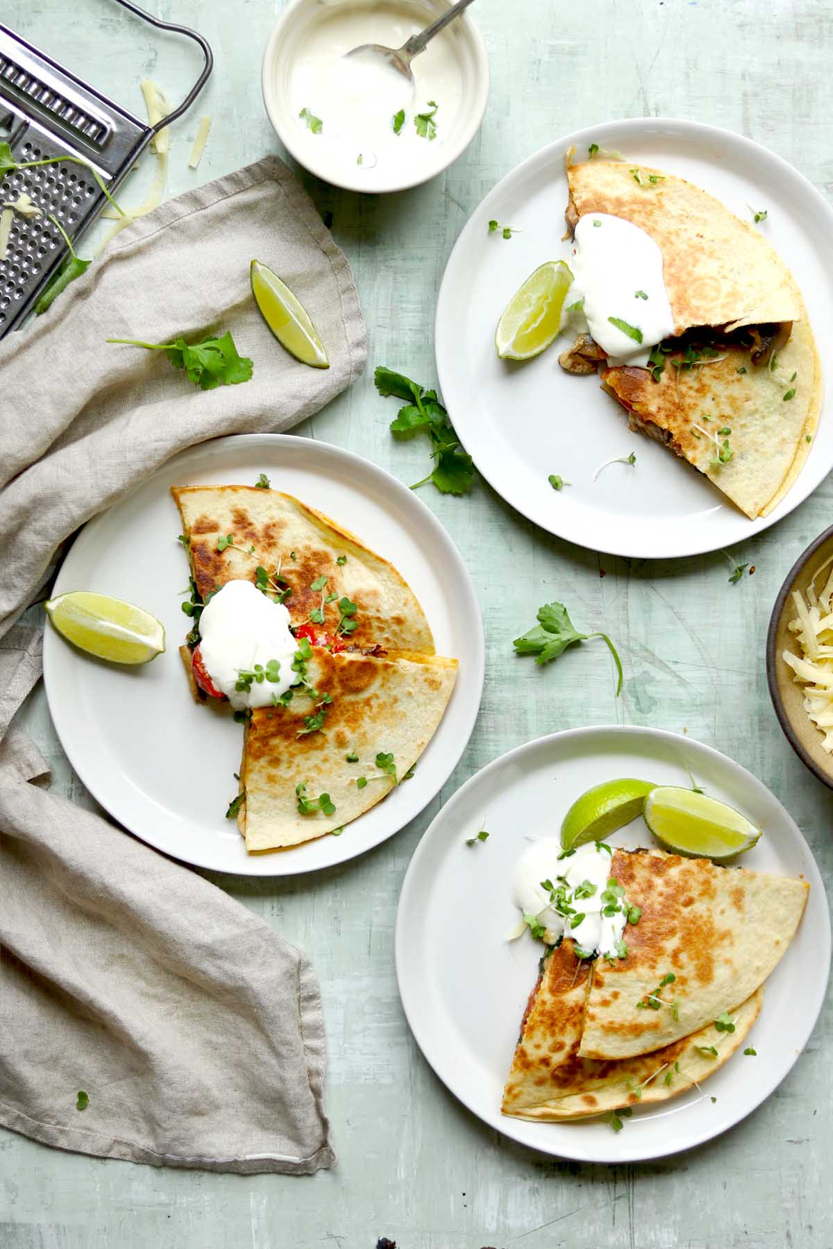 vegetarian quesadilla plated