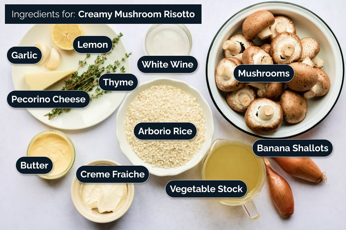 Ingredients for making this risotto dish