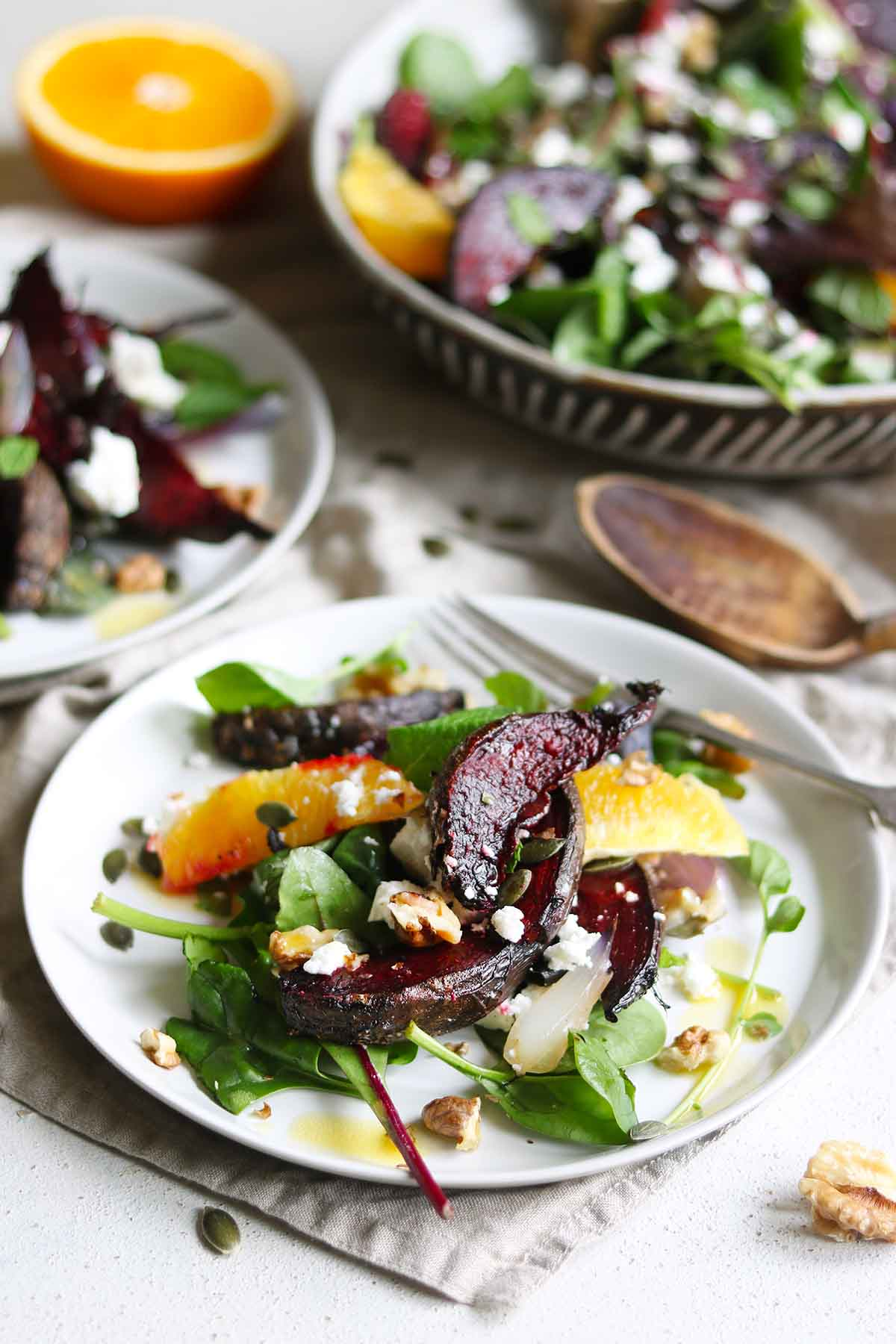 Roasted beetroot salad close plated