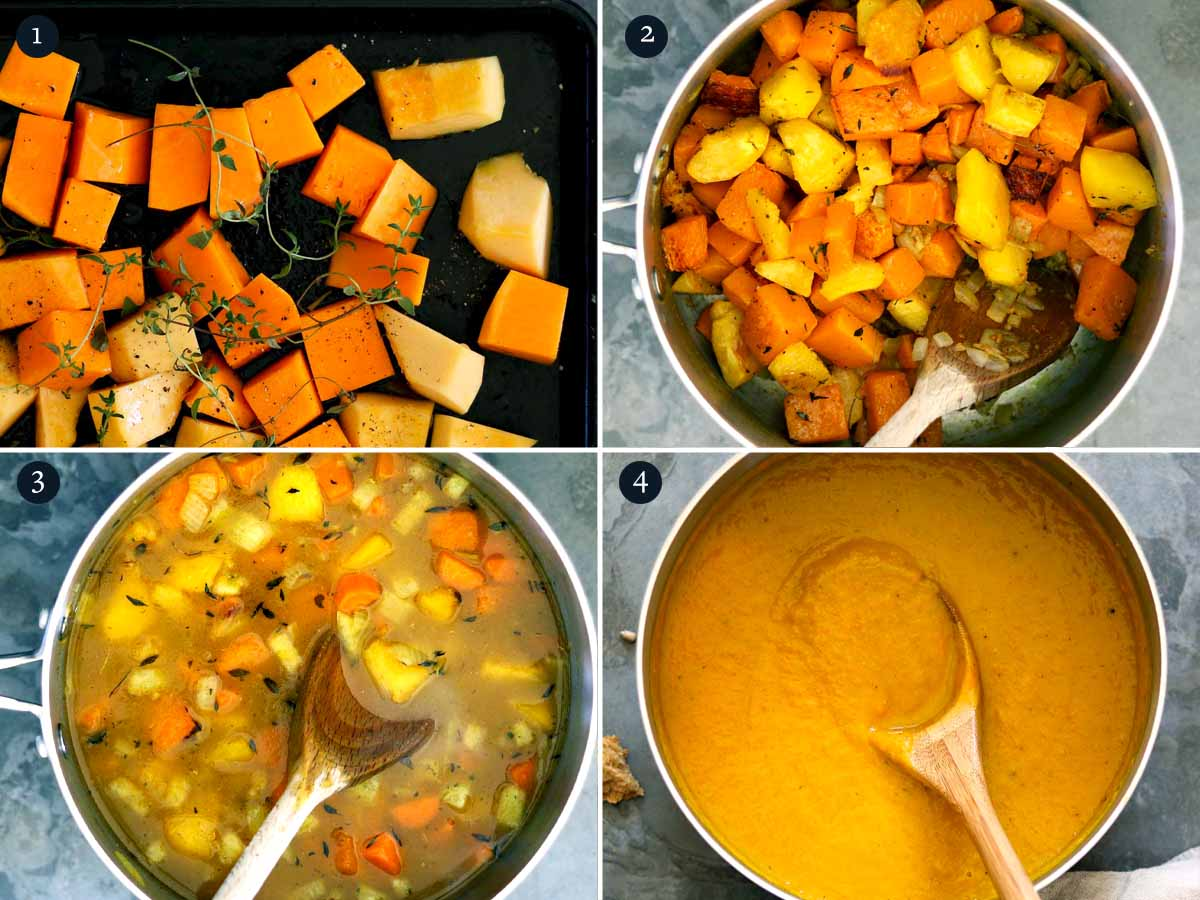 Step by step process to making autumn soup