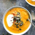 autumn squash soup close up