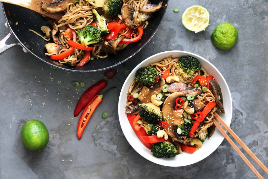Mushroom Stir Fry with Broccoli & Pepper