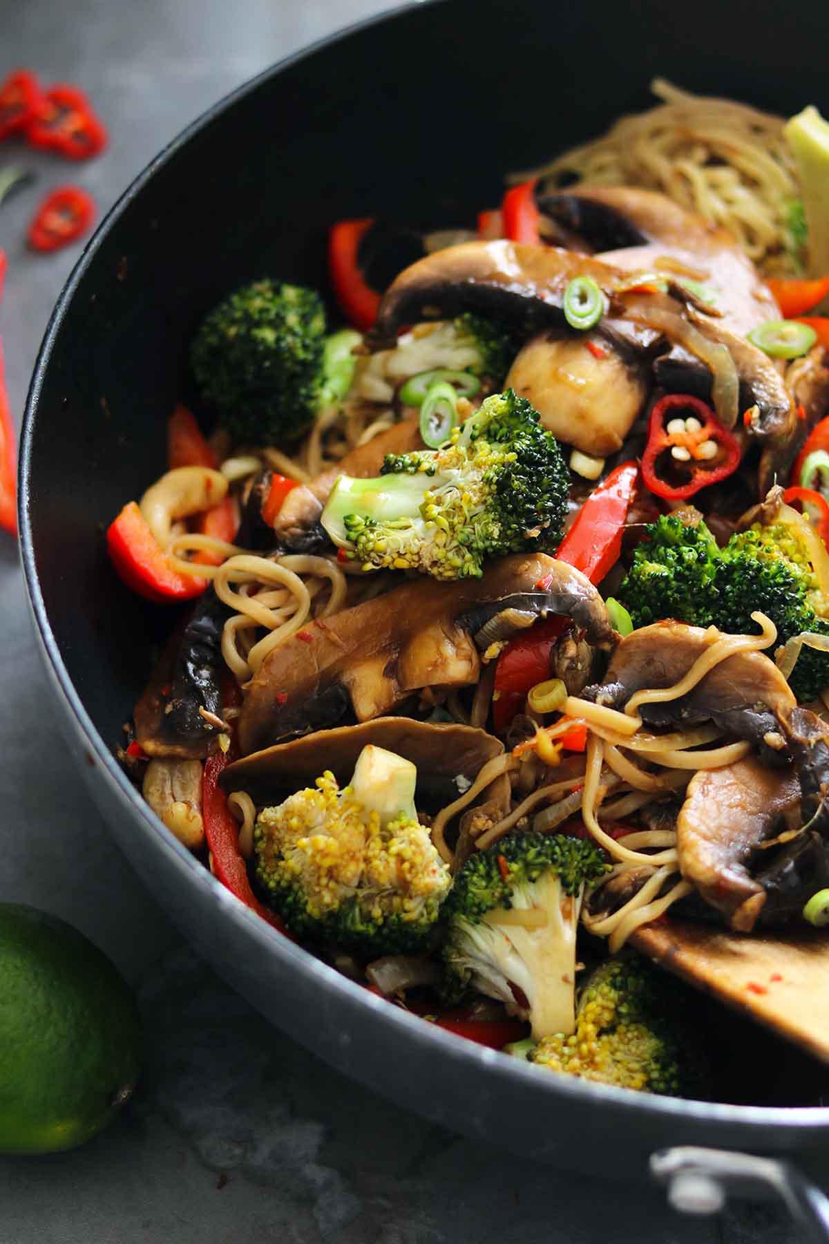 mushroom stir fry close up